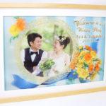 バラのブーケと鏡のウェルカムボード(オレンジ)【A3】12,000円(税込・送料込)